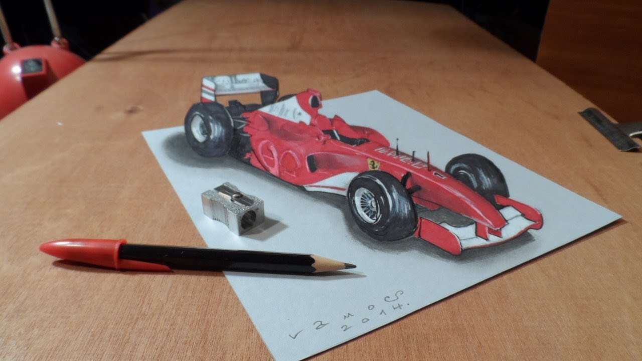 How I Draw A 3D Ferrari Formula 1 Car, Trick Art By Vamos   YouTube