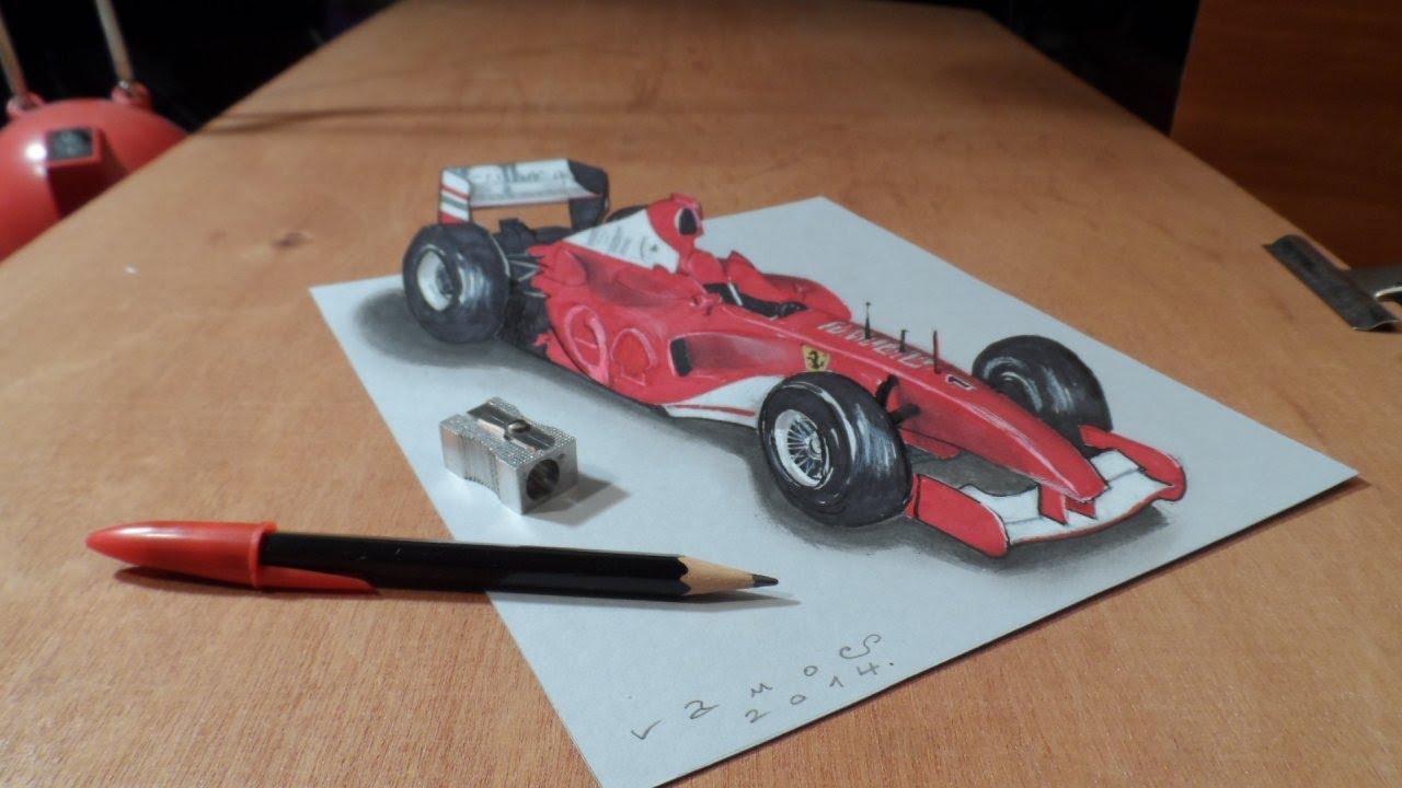 How to Draw a 3D Ferrari Formula 1 Car - Trick Art by Vamos