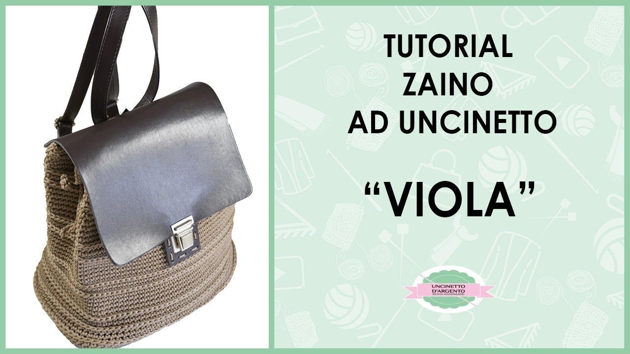Tutorial Crochet Backpack Zainetto Viola Punto Costa Inglese