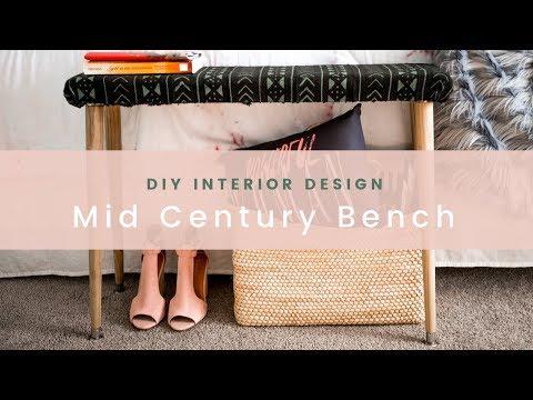 Easy DIY Mid-Century Modern Bench