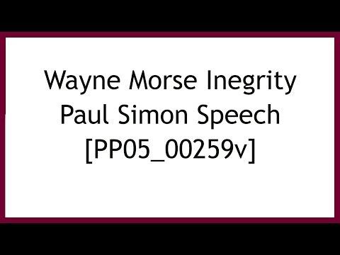 Paul Simon Speaks at Wayne Morse Integrity Dinner