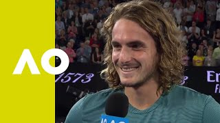 Stefanos Tsitsipas on-court interview after defeating Roger Federer | Australian Open 2019