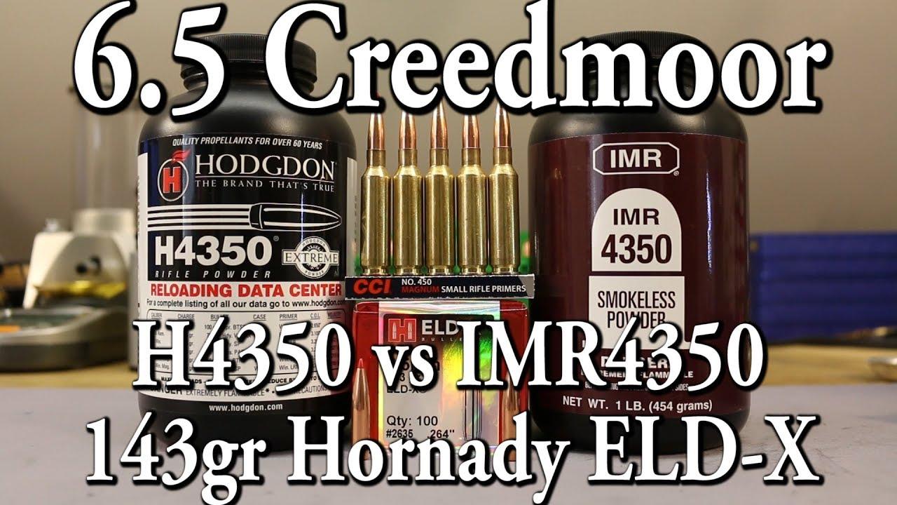 6 5 Creedmoor - H4350 vs IMR4350 - 143 ELD-X