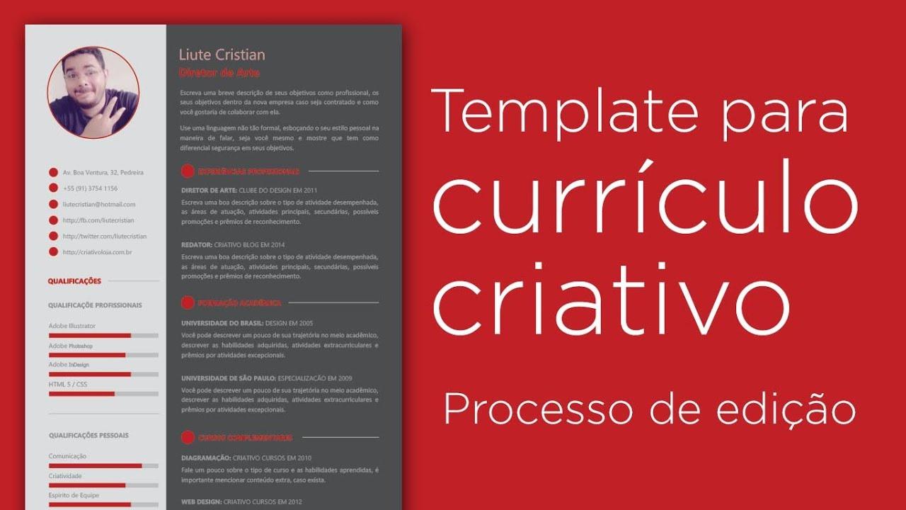 Template para currículo criativo - Processo de edição - YouTube