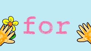 "For- Sight Word Song to teach the word ""for"""