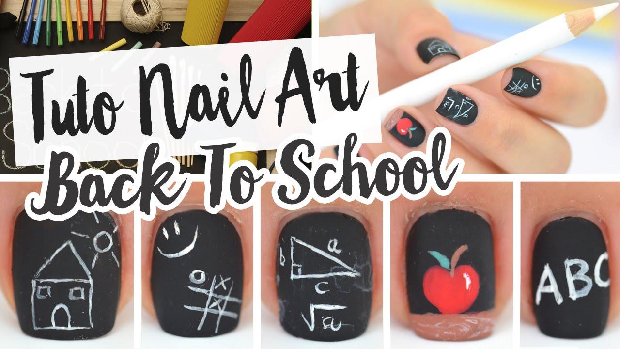 NAIL ART ♡ BACK TO SCHOOL - YouTube