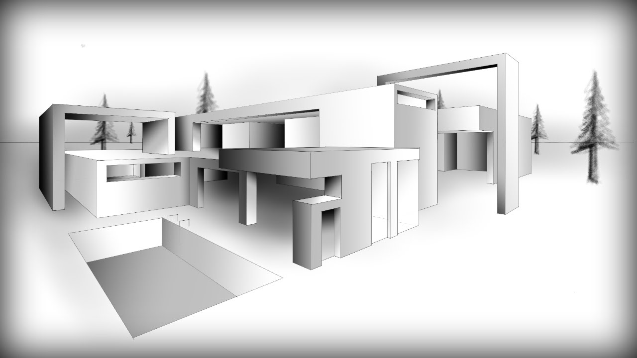 Architecture Design 9 Drawing A Modern House Youtube: drawing modern houses