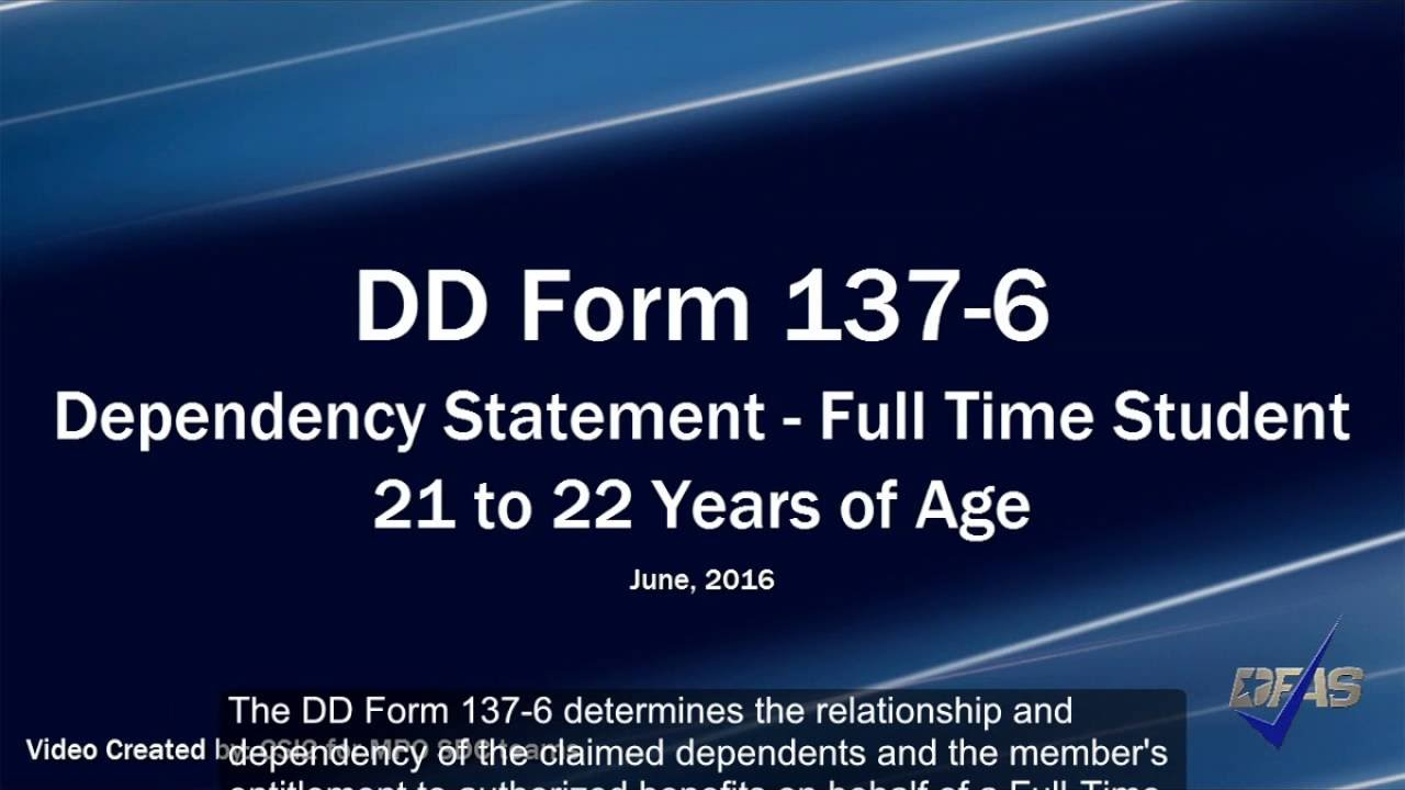 Full-Time Student DD Form 137-6 - YouTube