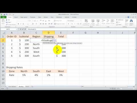 Using the Excel Hlookup Function