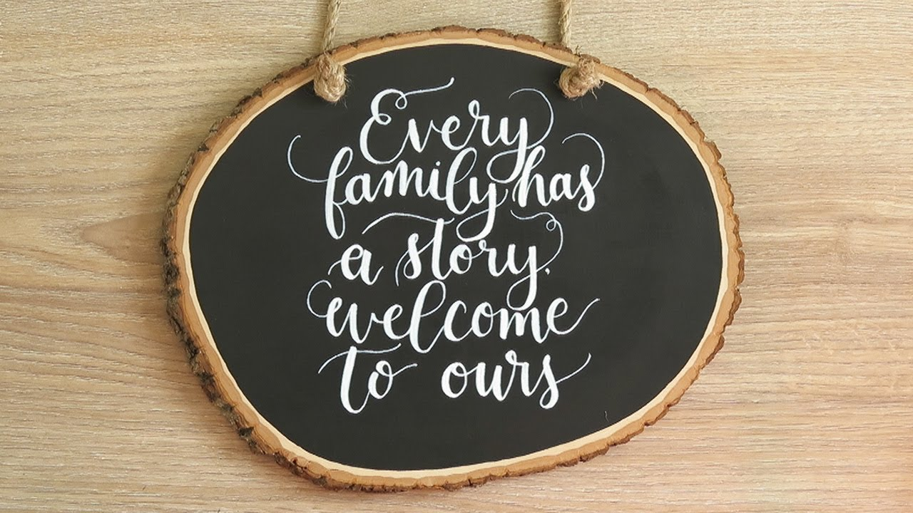 DIY Rustic Wood Slice Sign for Letterers  Hand Painted