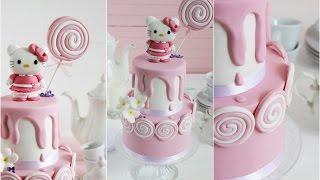 Efecto crema deslizando por tarta fondant. 1ª Parte Tarta Hello Kitty