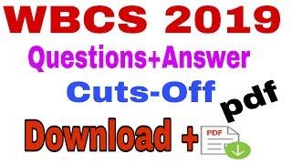 WBCS 2019 Cuts-Off l Questions+Answer Key(Pdf download)💥💥💥