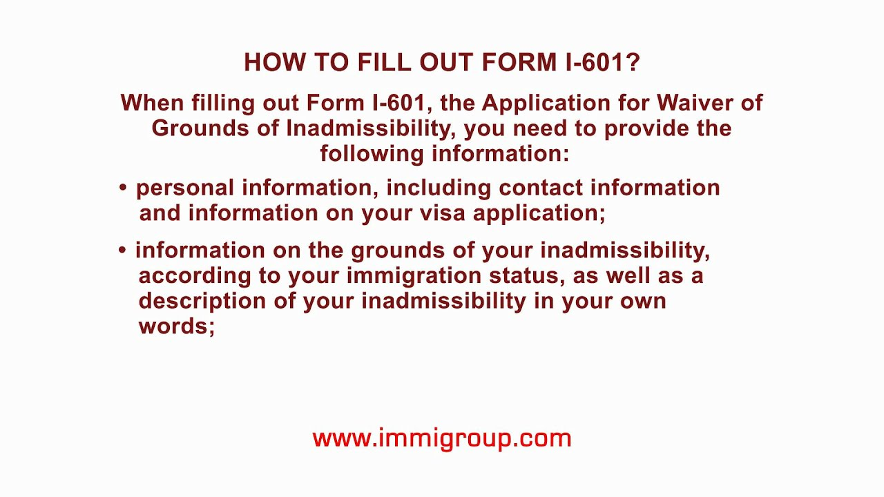 How To Fill Out Form I 601 Youtube