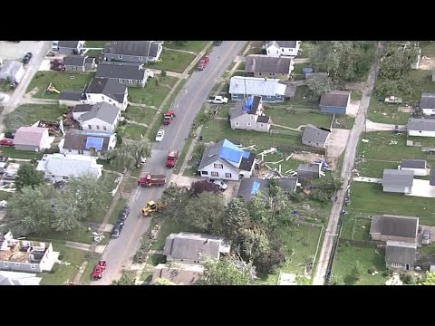 Helicopter footage of tornado damage in Kokomo