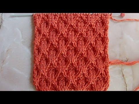 Рельефный объемный узор Вязание спицами Видеоурок 165