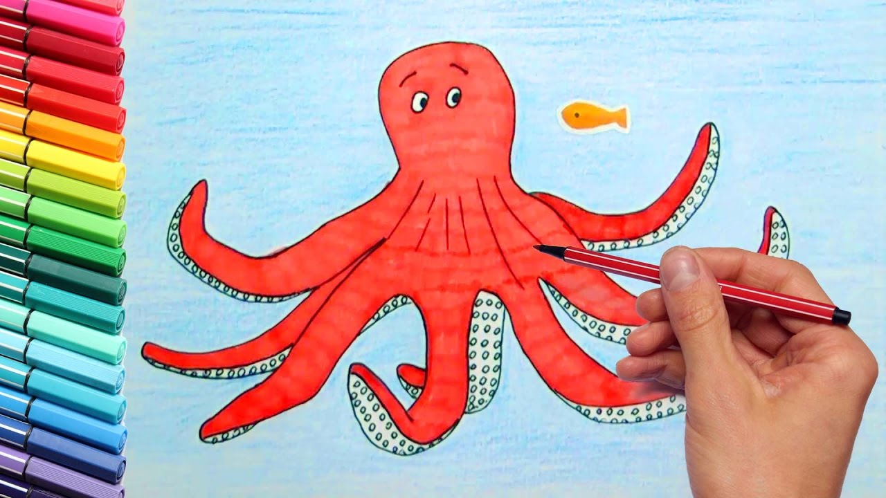 Octopus Drawing and Coloring for Kids Sea Animals Water ...