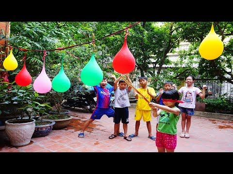 Kids go to School Learn play  water ball game | Song for Kids #3