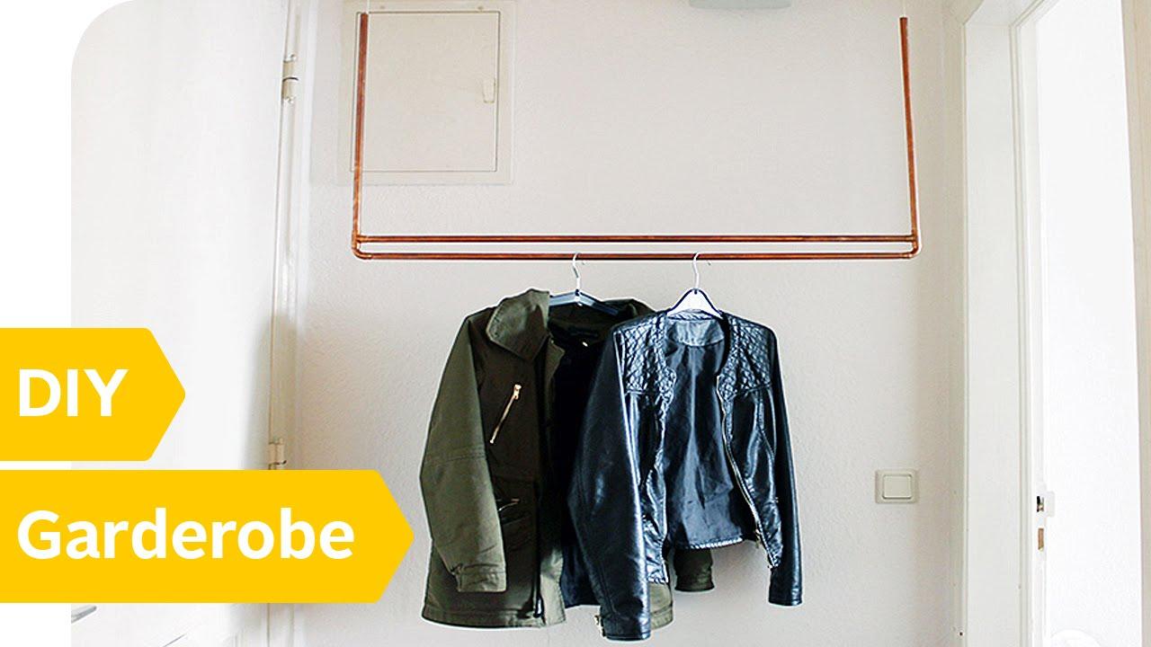 diy kleiderstange schwebende kleiderstange aus kupfer. Black Bedroom Furniture Sets. Home Design Ideas