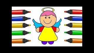 Cómo Dibujar y Colorear Ángel De niños Dibujos Para Niños | Draw For Kids Angel | Learn Colors