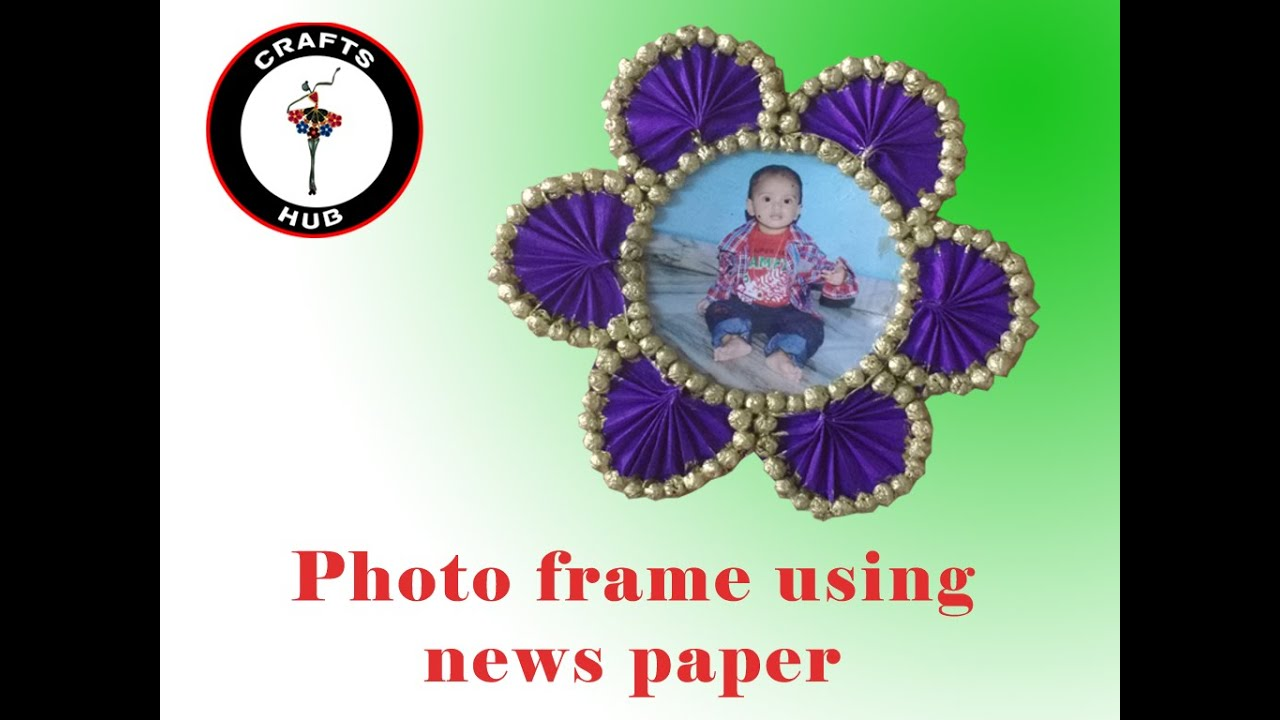 Making of beautiful photoframe using waste news papers for Use of waste material at home