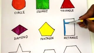 colouring Shapes in Math for Children to Learn Colors Circle, Heart, Triangle, square, diamond