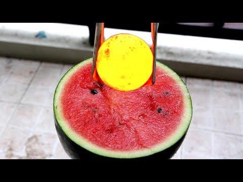 Semangka dengan bola besi 1000 derajat - Reaksi yang menakjubkan