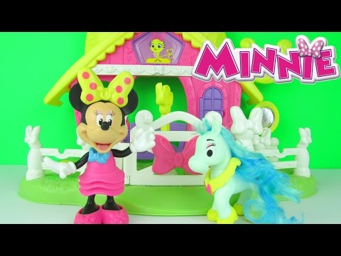 disney minnie mouse jump n style pony stable playset toy review unboxing fisher price toys
