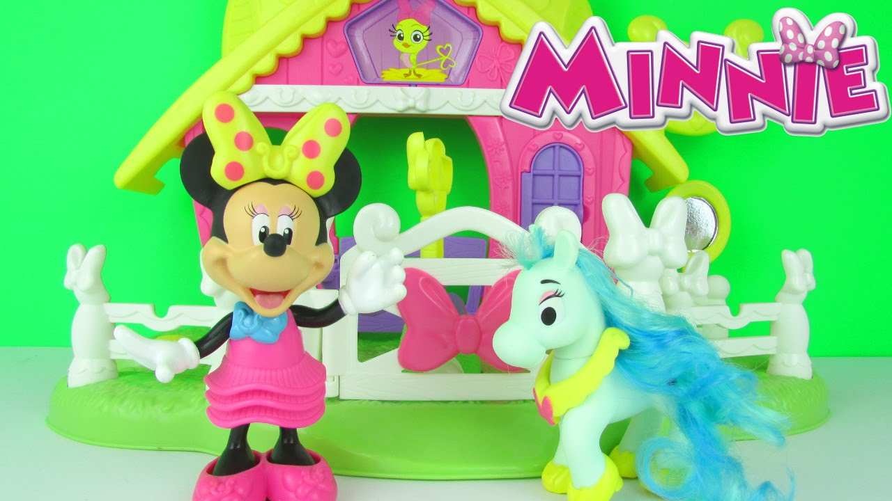 disney minnie mouse jump n style pony stable playset toy review unboxing fisher price toys youtube
