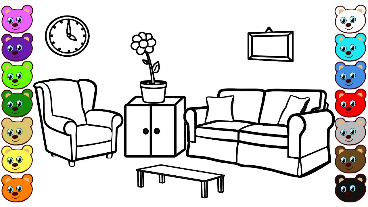 Living Room Coloring Page And Drawing Youtube