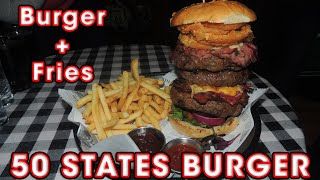 "Triple Bacon Cheeseburger Yankee Star ""50 States"" Burger - Food Challenge"