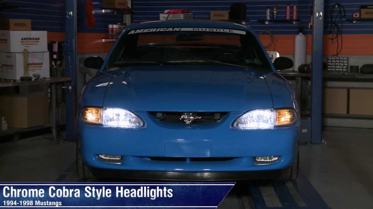 Sn95 Mustang Led Headlights Wiring Diagrams Schematics Headlight Switch Connector 9404 Lmrcom Chrome Cobra Style 94 98 All Review Youtube