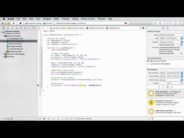 iOS Development with Swift Tutorial - 29 - Gravity