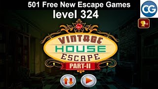 [Walkthrough] 501 Free New Escape Games level 324 - Vintage house escape part 2 - Complete Game