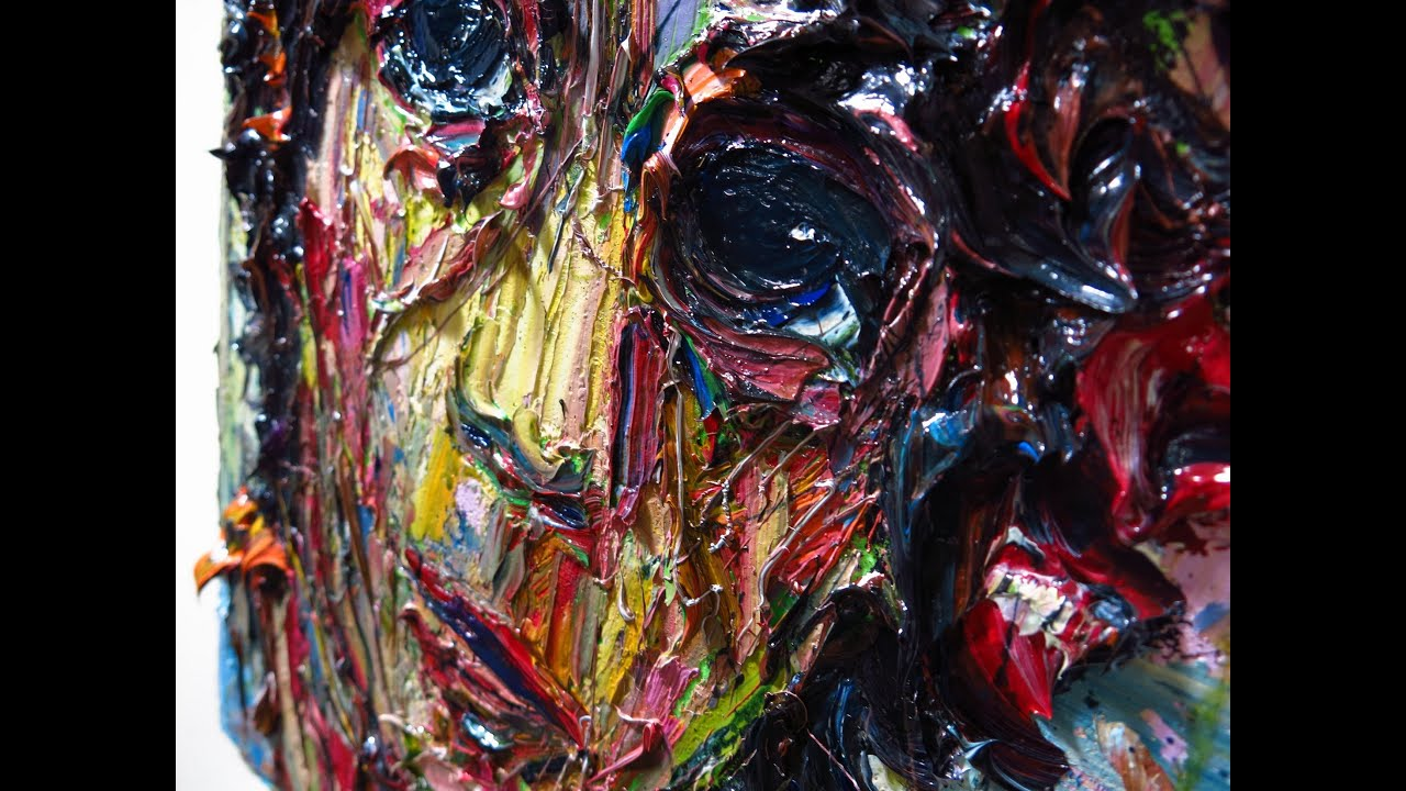 Crazy Painting Expressionist Oil Painting X860 Curly Haired Boy Palette Knife On