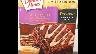 Duncan Hines Irish Cream Decadent Brownie Mix Preparation & Review