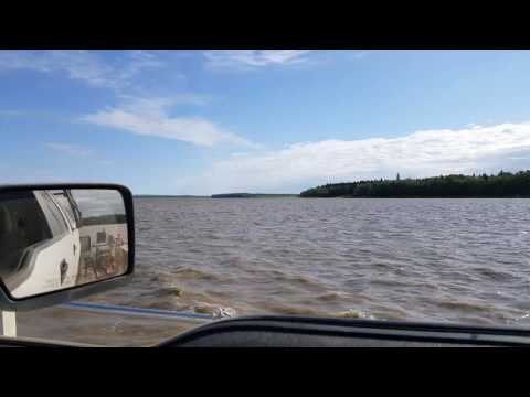 Crossing the Peace River into Fox Lake AB