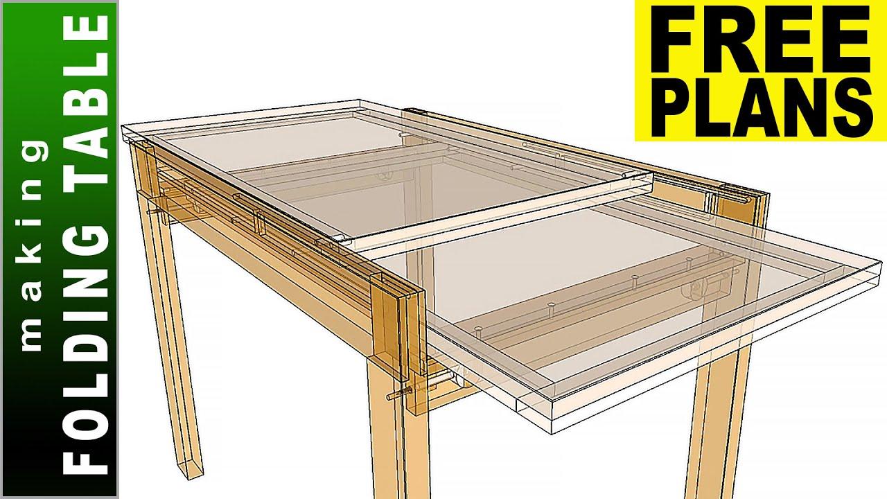 Folding Sliding Dining Table Free Plans Making Dining Table Diy Youtube