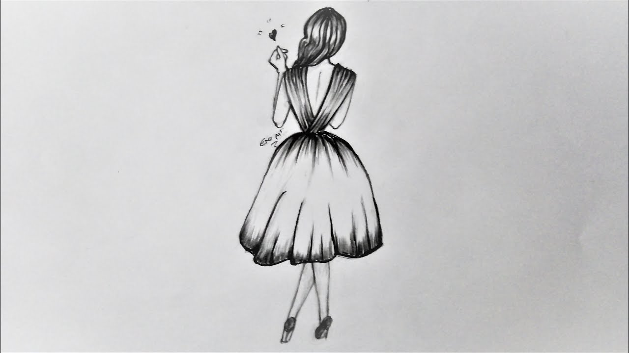 رسم سهل بالرصاص بنت ترتدى فستان خطوة بخطوة