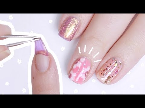 EASY SPRING FLORAL NAILS   PEEL OFF POLISH