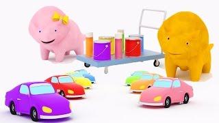Aprender los colores Pintando Autos con Dina y Dino los Dinosaurios | Dibujo animado para niños