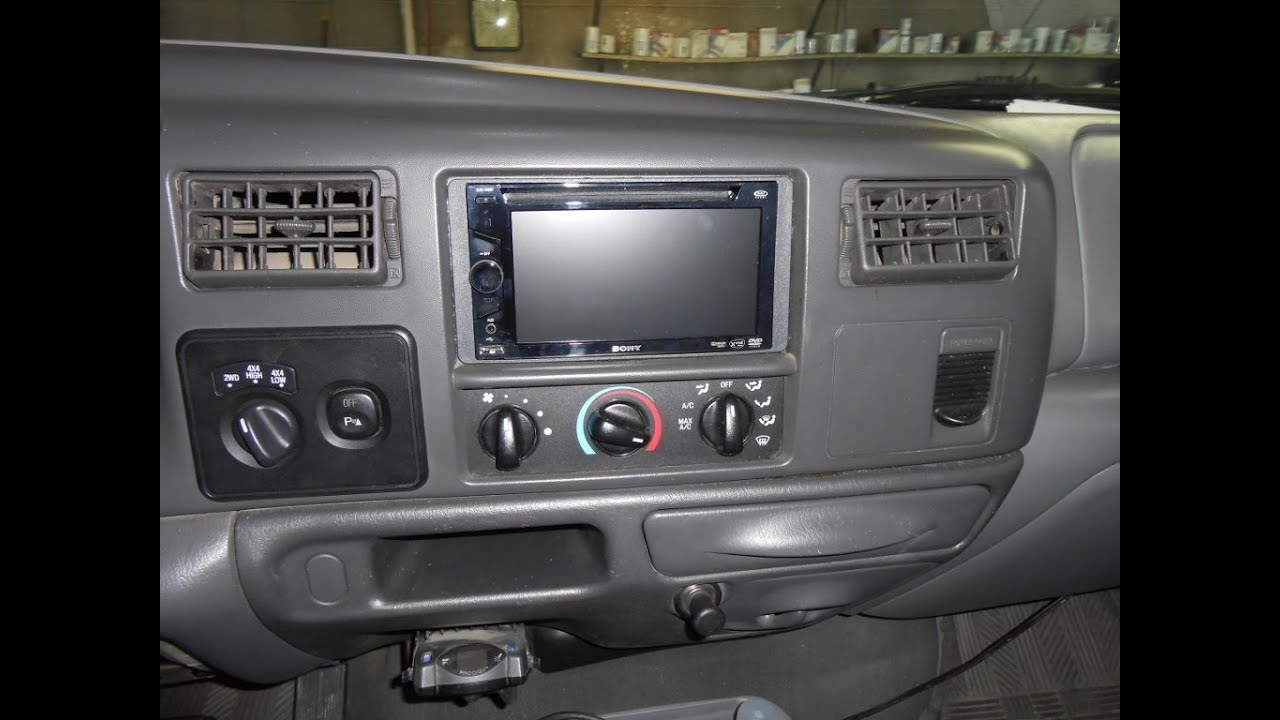 how to install a double din dvd stereo in a 99 03 ford super duty pickup or excursion youtube [ 1024 x 768 Pixel ]
