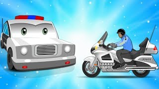 Police Cars Chase Police Bike w the Ambulance in Car City | Cartoons for Children - Songs for Kids