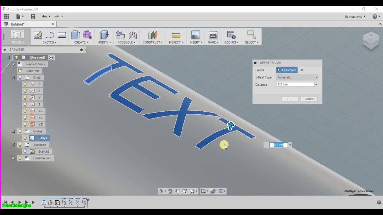 Autodesk Fusion 360 How to create embossed/engraved letters Part1