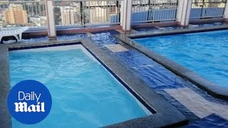 Rooftop pool shakes and spills water as 6.3 quake hits Manila