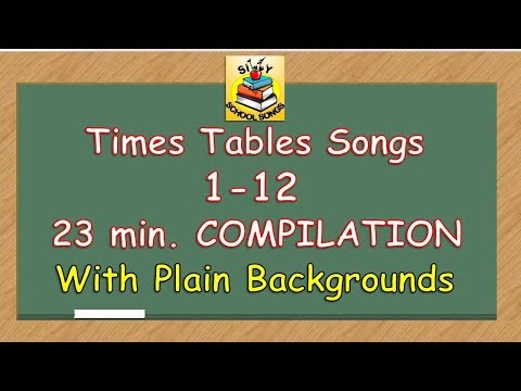 Times Tables Songs 1-12 for Kids (w/ Plain Backgrounds) | 23 Min. COMPILATION! | Silly School Songs