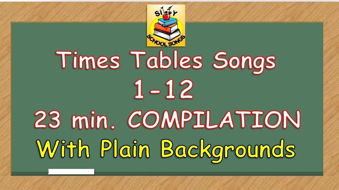 Times tables songs 1 12 for kids w plain backgrounds for 12 times table song youtube