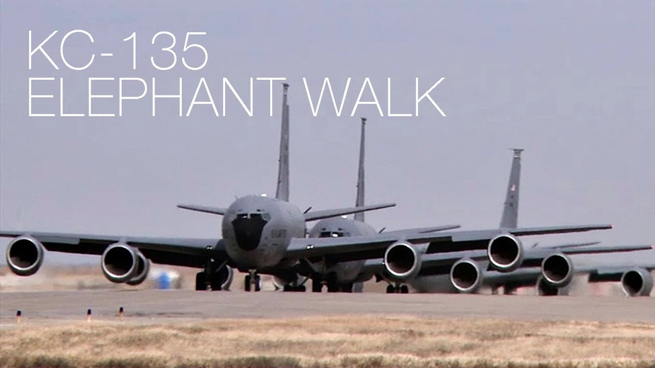 Massive KC-135 Stratotankers 'Elephant Walk' On Runway