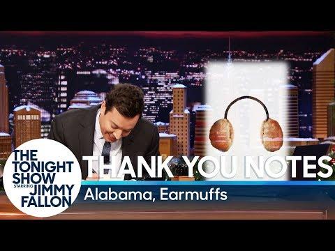 See Jimmy Fallon's Thank You Notes: Alabama and Earmuffs!