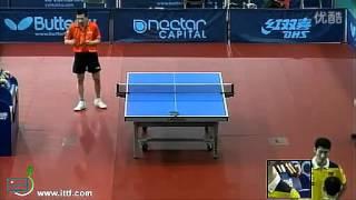 2011英国站男单十六分之一 何志文 王励勤 he zhi wen spain penhold wang liqin world champion table tennis china