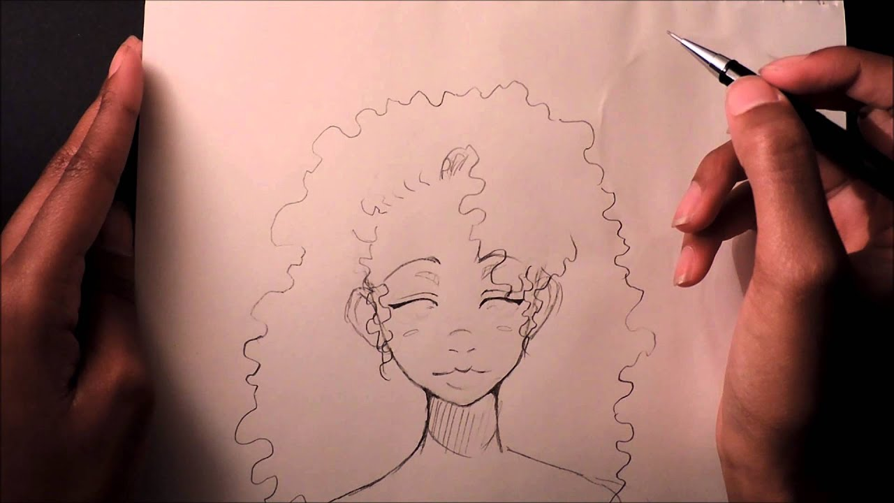 draw curly afro hair